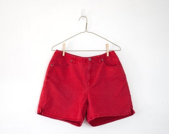 90s Vintage High Waisted Shorts, Red, Liz Claiborne