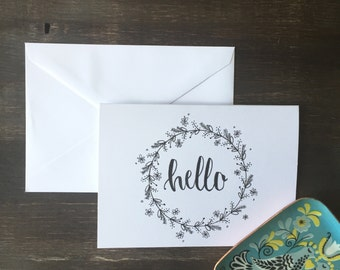 Hand Drawn Hello Card Pack//Pack of 5//ALL HAND DRAWN//White Floral Wreath Cards