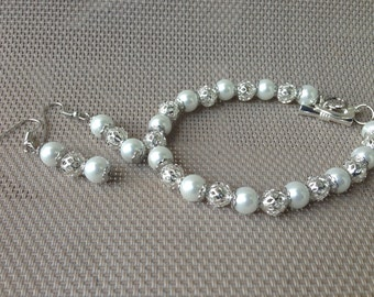 White pearl and silver bracelet/earring set