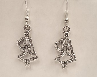 Skeletons Earrings -Silver Plated Earwires- Antique Silver Pendant