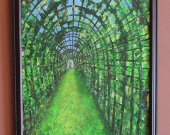 Royal Path, Wall Art, Gift, Oil Paint/Canvas, 20x16, Greenm Canopy, Vines, Arbor, Trellis,Nature, Europe, Decor,  16x20