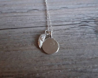 Silver Angel Wing Stamp Necklace