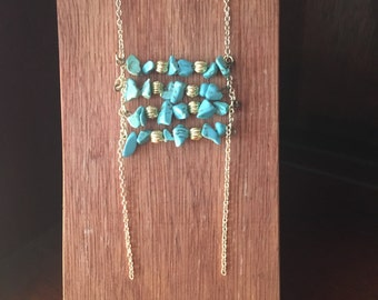 Tourqise boho style necklace with gold Chain