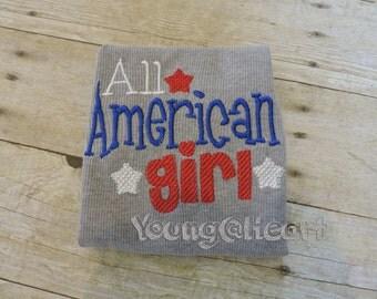 Embroidered Shirt All American Girl Shirt