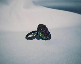 Iridescent Geode Ring (Adjustable)