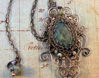 Victorian inspired sterling silver and torquoise pendant