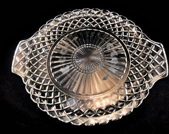 Round Moulded Glass Tray 1940s