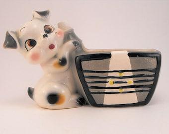 Glazed Clay Figural Dog Planter