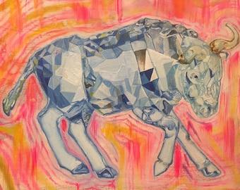 Crystal Bull in oil, original