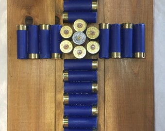 12 Gauge Shotgun Shell Cross (Blue)  ON SALE Reg 65.00