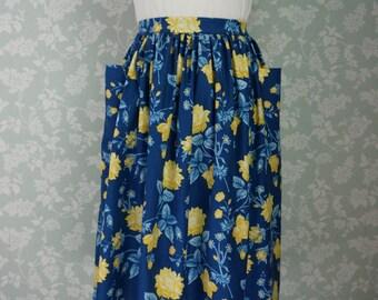 """Blue floral pocket skirt 31""""~32"""""""