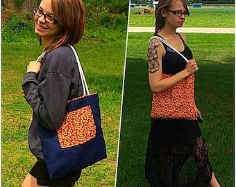Reversible Purse; Reversible Bag; Denim, Red Floral