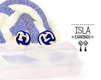 Isla 2 Earrings. Fabric, knot, Celtic knotwork earrings. Button earrings. Small earrings.