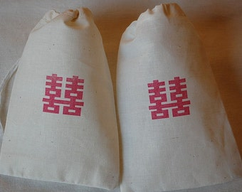 10 Wedding Chinese Double Happiness muslin cotton party favor bags 4x6 inch - you choose ink color