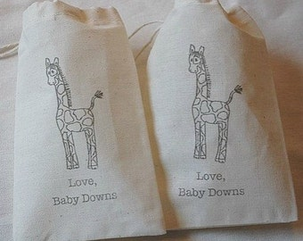 10 Personalized Safari Giraffe Baby Shower muslin cotton party favor bags 4x6 inch - you choose ink color - gift bags for baby