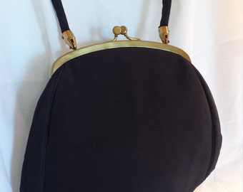 1950's Ingber Black Satin Handbag