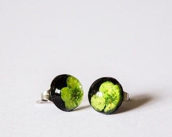 Black & Green Earring Studs