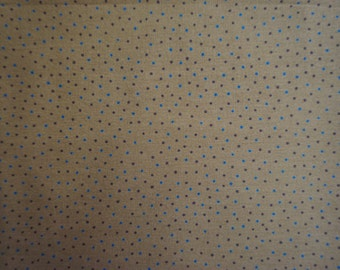 Cotton Fabric 7/8 yrd Polka Dots on Tan Fabric from Daphne by Moda