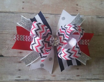 4th of July Patriotic Stacked Boutique Hair Bow