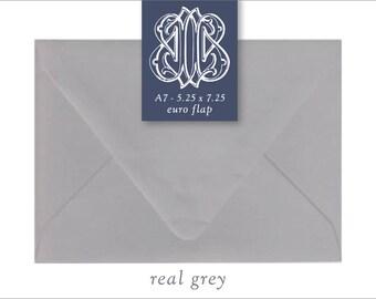Real Grey | 10 Blank A7 Euro Envelopes