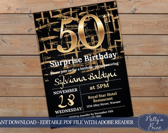 50th Surprise Birthday Invitation, Surprise 50th Birthday Invitation, Adult Birthday Invitation, Self Editable PDF, Instant Download, Women