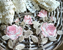 13cm x 11cm Embroidered sew on applique patch I Quilting applique I Sewing I Floral applique I Rose applique I Embroidery applique I Rose