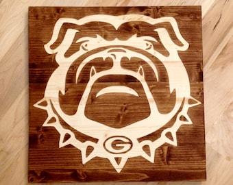 "16""x16"" Georgia Bulldog Wall Art"