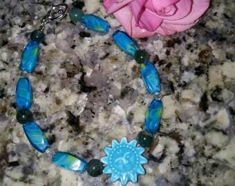 Beaded Bracelet - 7.25 inch bracelet - Moss Agate - Sun - Gifts for her