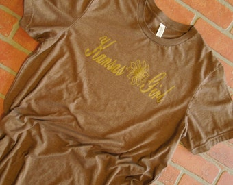 Kansas Girl Antique Gold Shimmer Graphic T-Shirt by Rustic Sunflower Apparel/Midwest T Shirt /Sunflower T Shirt/Women's Tee/Sparkle T Shirt