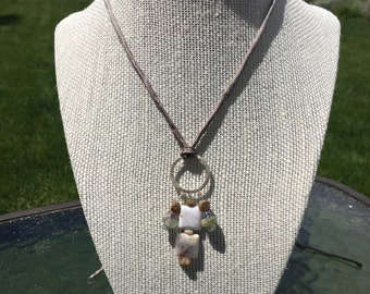 Boho Agate Necklace Purples and Brown
