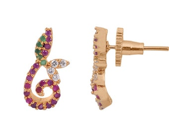 rc alloy golden coloured multi stone earring