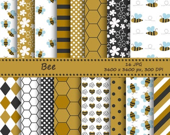 SALE Bee digital paper pack, bees and honeycomb - 18 printable jpeg papers - Instant download - Printable background