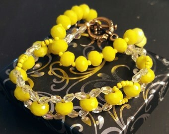 Paired yellow bracelets