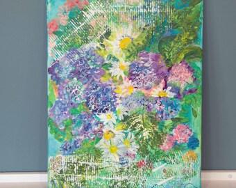 "Garden View - Original mixed media art on canvas frame.  11"" x 14"" x 0.5"""