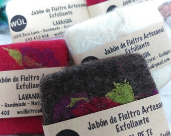 Felted Soap scrub NUNO felt SOAP lavender and olive oil, SOAP felt handmade, eco-friendly, Natural, wool merino