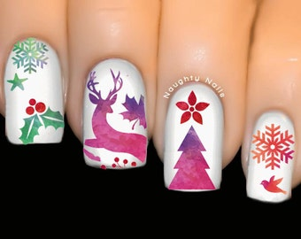 CHRISTMAS Watercolour Nail Water Transfer Decal Sticker Xmas Tattoo Tree Reindeer NNC-114