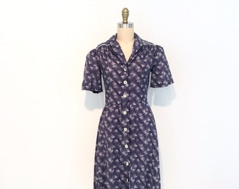 Vintage 1950s Navy Cotton Chore/Day Dress