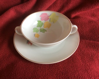 I Bernardaud & Co Limoges Cynthia Soup Bouillon Bowl and Saucer