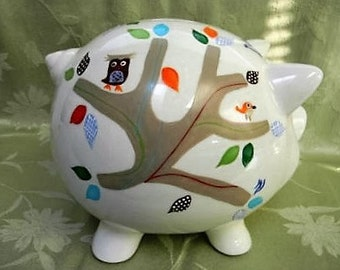 Personalized hand painted piggy banks, childrens banks, piggy banks for kids, ceramic piggy banks, large piggy banks, baby accessories