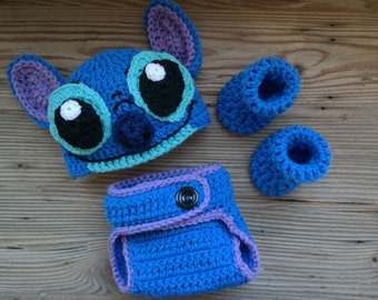 Stitch hat and diaper cover for newborn. No booties.