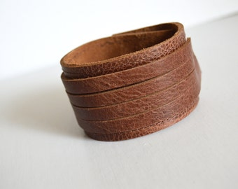 Wide Leather Cuff:  Stacked Coil Brown Leather Bracelet