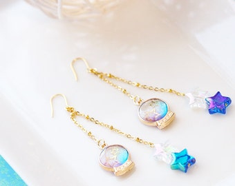 16K Gold Plated Space Snow Globe Dangle Earrings
