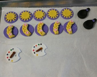 Tangled Cupcake Toppers in fondant