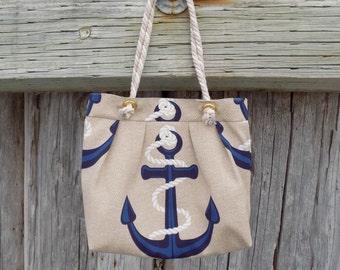 Nautical Handbag, Anchor Purse, Anchor Tote, Anchor Bag, Nautical Purse, Nautical Bag, Sailing Gift, Nautical Gift, Sailing Bag, Boat Bag