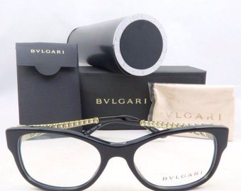 Bvlgari BV 4081H 501 Black/Gold/Pearl New Authentic Eyeglasses.
