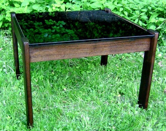 Circa 1960 Mid-Century Modern Solid Rosewood Glass-Top Side Table