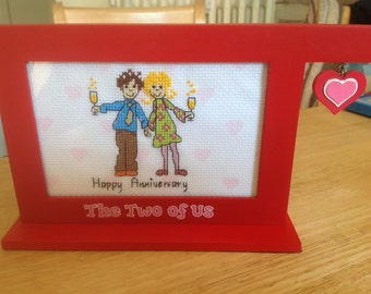 Hand sewn cross stitch frame can personalise for free Anniversary gift