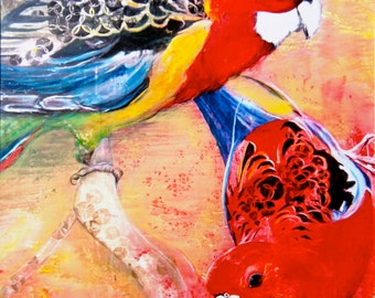 ROSIE AND ELLA (Australian Rosellas) Limited Edition Print/Extraction- Large