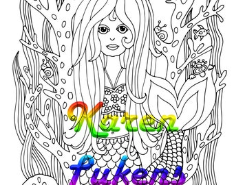 Miss Gina, a beautiful, whimsical Mermaid, 1 Adult Coloring Book Page, Printable Instant Download