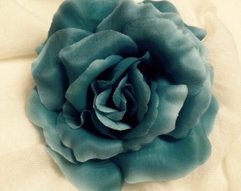 Blue rose silk flower hair clip